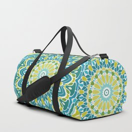 Beach Blue and Lime Green Mandala Duffle Bag