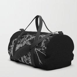 Creepy tree silhouette, grey on black Duffle Bag