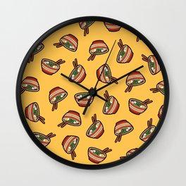 Ramen Bowl Pattern in Orange Wall Clock