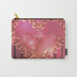 Illustration for Valentines day with heart shaped frame with roses Carry-All Pouch