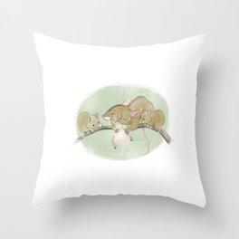 Mouse Family  Throw Pillow