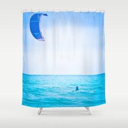Kite surf blue Shower Curtain