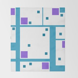 Violet Rectangle with turquoise Lines Throw Blanket