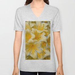 IVORY COLOR CLIVIA FLOWERS Unisex V-Neck