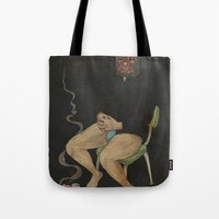 kozyndan Tote Bags featuring Breakfast of Champions by kozyndan