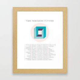 2015 Minimalist Calendar Optical Illusion Framed Art Print