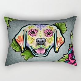 Golden Retriever - Day of the Dead Sugar Skull Dog Rectangular Pillow
