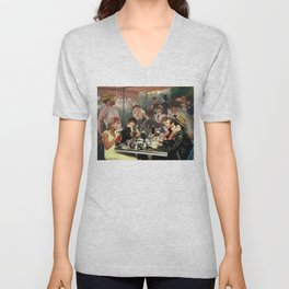 Renoir's Luncheon of the Boating Party & Grease Unisex V-Neck