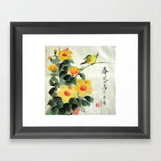 green bird sensations Framed Art Print