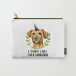 """I'M A UNICORN"" Pit Bull Dog Illustration Carry-All Pouch"
