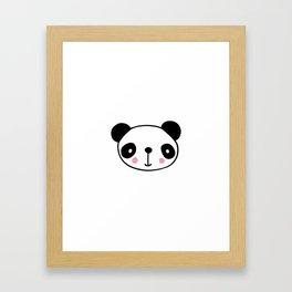Cute panda head in black and white Framed Art Print