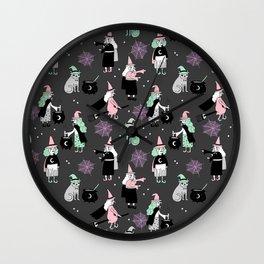 Witches halloween pattern cute cat cauldron broomsticks magic spells Wall Clock