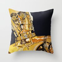 c3po Throw Pillows featuring C3PO by Laura-A