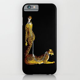 """""""Lady and the Leopard"""" Art Deco Design iPhone Case"""