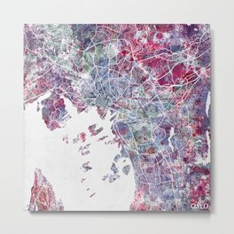 Oslo Map Metal Print