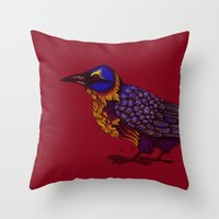crow Throw Pillows featuring Crow by Sarinya  Withaya