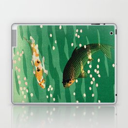 Vintage Japanese Woodblock Print Asian Art Koi Pond Fish Turquoise Green Water Cherry Blossom Laptop & iPad Skin