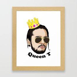 Queen T - Black Text Framed Art Print
