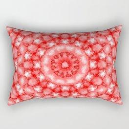 Kaleidoscope Fuzzy Red and White Circular Pattern Rectangular Pillow