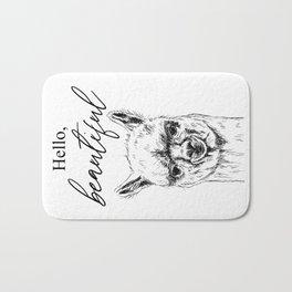Hello, Beautiful Alpaca Sketch Bath Mat