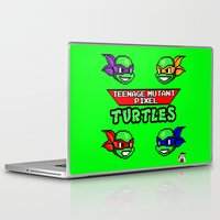 teenage mutant ninja turtles Laptop & iPad Skins featuring Teenage Mutant Pixel Turtles by Rapsmyinitials