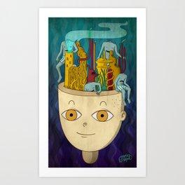 Mundo de cabeza Art Print