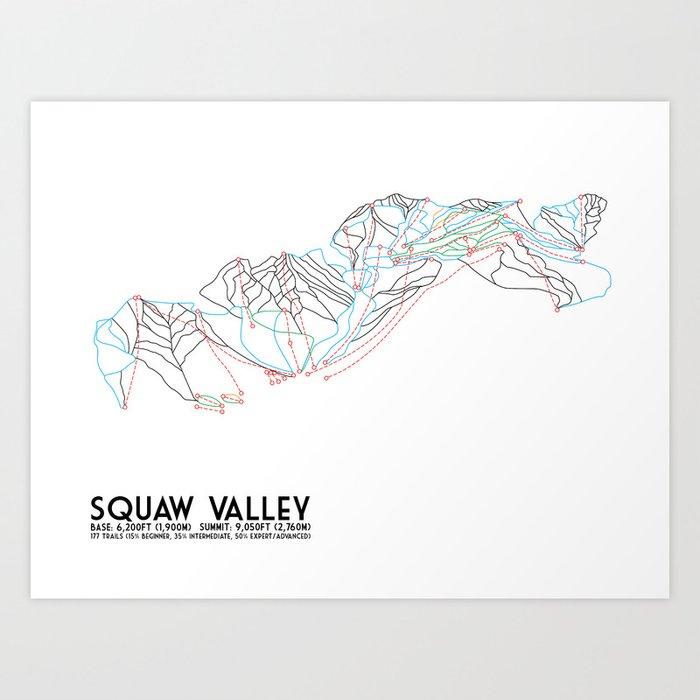 Squaw Valley, CA - Minimalist Trail Map Kunstdrucke