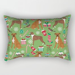Boxer dog christmas pattern must have holiday themed dog breed pet friendly accessories for home Rectangular Pillow