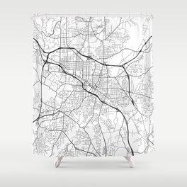 Durham Map, USA - Black and White Shower Curtain