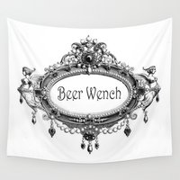 beer Wall Tapestries featuring Beer Wench by Andrea Jean Clausen - andreajeanco