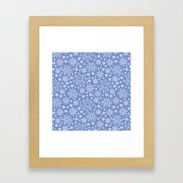 Snowflake doodle pattern on the blue backgrount Framed Art Print