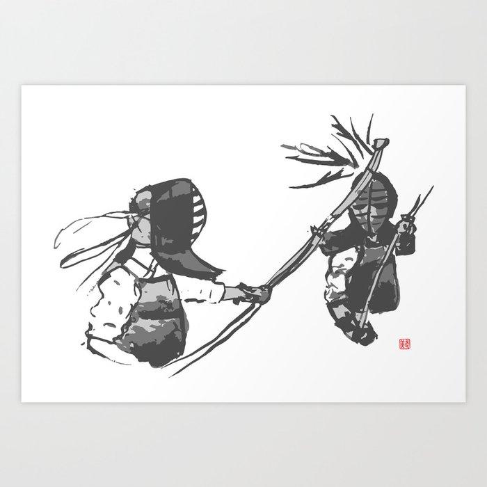Naginata Sumi-E by Takemi Art Print