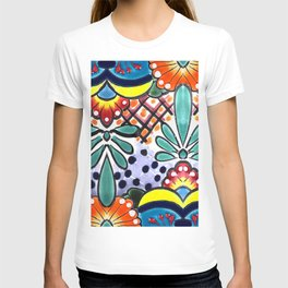 Colorful Talavera, Yellow Accent, Large, Mexican Tile Design T-shirt