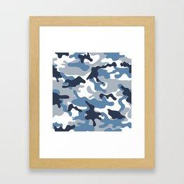 Blue and White Camo Framed Art Print