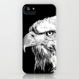 bald eagle 03 neon lines white iPhone Case
