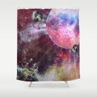 lunar Shower Curtains featuring Lunar Strain by Shipwreck Moon Designs