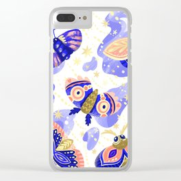 Abstract watercolor lilac navy blue gold butterflies Clear iPhone Case