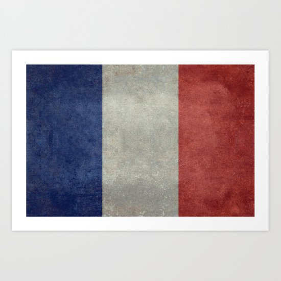 French Flag, Vintage retro style Art Print