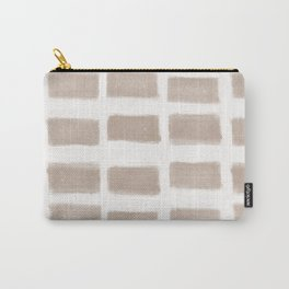 Brush Strokes Horizontal Lines Nude on Off White Carry-All Pouch