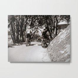Mountain Bikers On A Path Metal Print