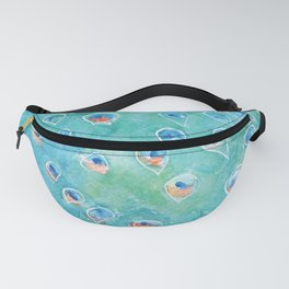 Peacock, teal bird, watercolor painting, home decor Fanny Pack