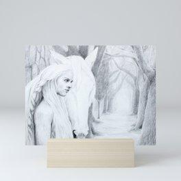 The woman, the horse, their path Mini Art Print