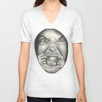 fear V-neck T-shirts featuring Fear by Magdalena Almero