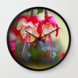 Fuchsias on the water Wall Clock
