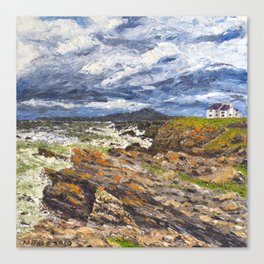 Wind swept sea Anglesey Gromlech Canvas Print