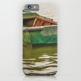 Lonely Old Fishing Boat at Santa Lucia River in Montevideo, Uruguay iPhone Case