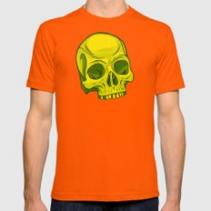 Skull - Yellow Mens Fitted Tee Orange SMALL