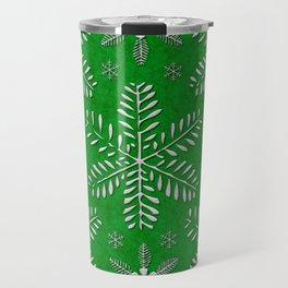 DP044-12 Silver snowflakes on green Travel Mug