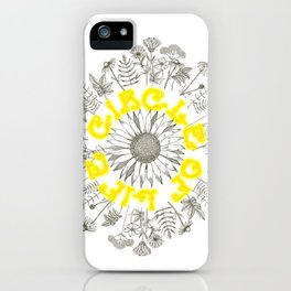 Circle Of Life Mandala With Hand Drawn Flowers iPhone Case