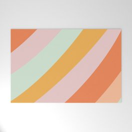 Summer Sorbet Pastel Curved Stripes Welcome Mat